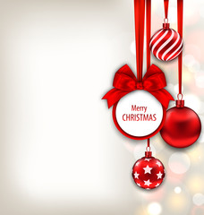 Christmas Background with Celebration Card and Glass Ball
