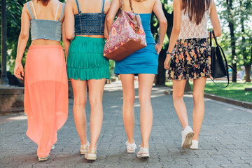 Girlfriends walking together