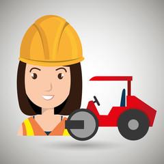 worker steamroller construction vector illustration design eps 10