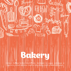 Bakery banner on pattern with lettering on wooden background. Hand drawn vector illustration for menus, banners, recipes and packages.