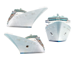 Set of isolated cruise ships