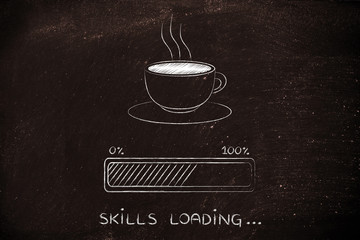 coffee cup & progress bar loading skills