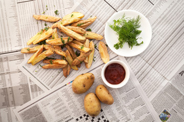 fries french ketchup herb still life