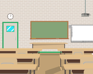 View of the interior of a modern room school without pupils. Vector illustration