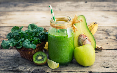 Healthy green smoothie in the jar Wall mural