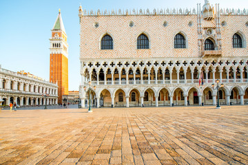 Morning view on Doges palace and San Marco tower in the center of Venice