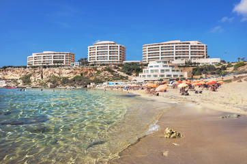 Golden Bay beach in Malta