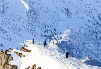 Skiers on the slopes of the ski resort of Meribel, France