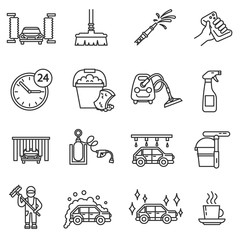 Car wash icons set. Automatic carwash collection. Thin line design