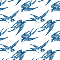 Vector hand drawn swallow birds seamless pattern design. Flying swift detailed sketch, beautiful animals in the wild