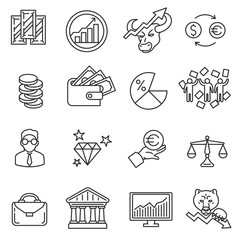 Trading icons set. Stock market game collection. Thin line design