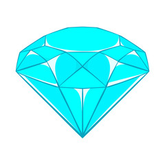 Diamond icon in cartoon style isolated on white background. Jewelry symbol