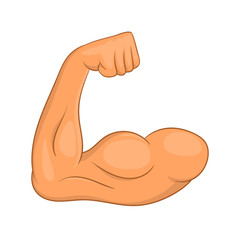 Biceps hands icon in cartoon style isolated on white background. Muscles symbol
