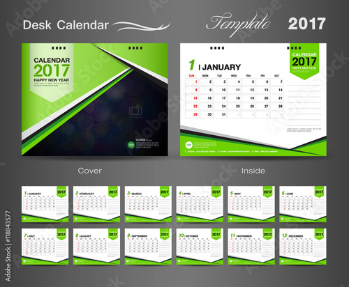 Calendar Cover Page Design : Quot set green desk calendar vector template stock image