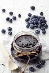 Jar of blueberry jam