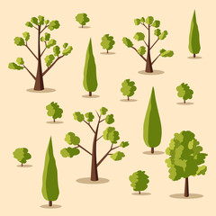 Set of trees. Cartoon vector illustration