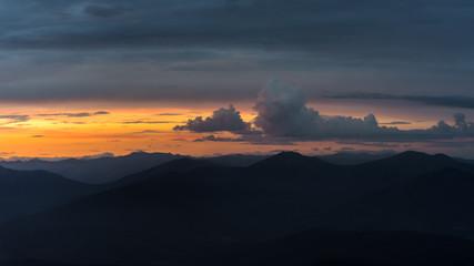 Sunset in mountain valley