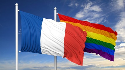 3d rendering gay flag with France flag