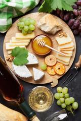 Wine, grape, cheese and honey