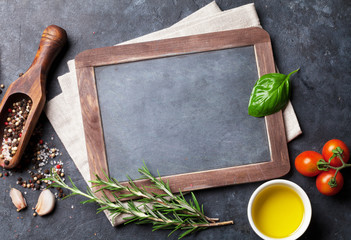 Chalkboard, herbs and spices