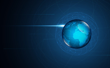 abstract digital global network telecommunication technology innovation concept background