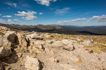 A landscape view of a peak in the Rocky Mountains, Colorado, USA