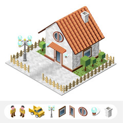 Set of Isolated High Quality Isometric City Elements. Cottage on White Background.