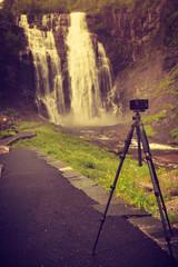 Camera and Skjervsfossen Waterfall, Norway