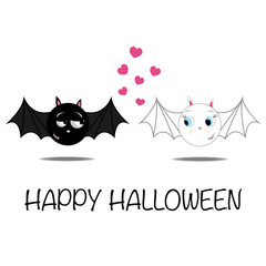 Halloween funny illustration of bat couple in love.