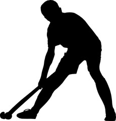 Silhouette of boy hockey player playing corner ball