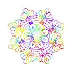 Decorative watercolor round pattern in rainbow colors.
