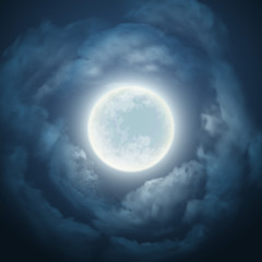 Night sky with the moon and cloud. Vector illustration