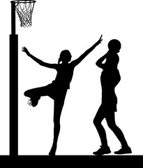 Silhouette of girls ladies netball players jumping and blocking