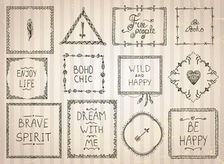 Fashion hand drawn sketch frames and philosophy quote phrases mega set in boho style