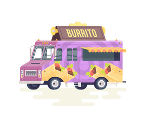 Vector colorful flat burrito truck. Food truck. Isolated on white background.