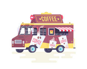 Vector colorful flat coffee truck. Isolated on white background.