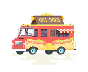 Vector colorful flat hot dog truck. Isolated on white background.