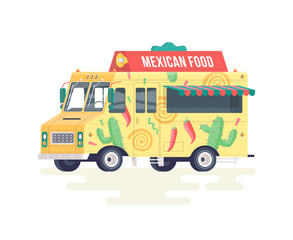 Vector colorful flat Mexican food truck. Food truck. Isolated on white background.