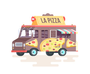 Vector colorful flat pizza truck. Isolated on white background.