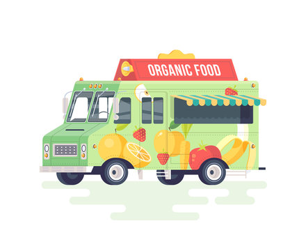 Vector colorful flat fruits and vegetables truck. Organic food truck. Isolated on white background.