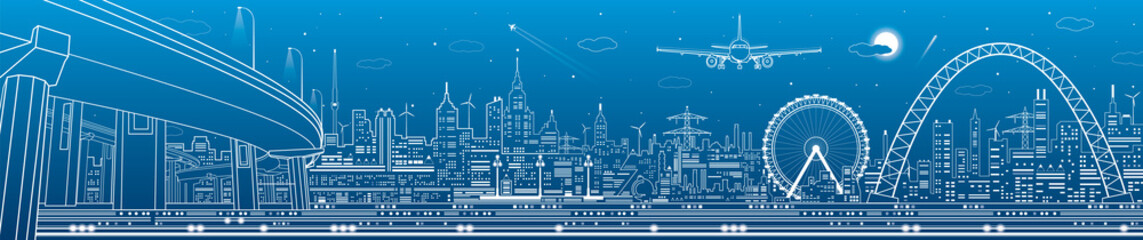 Industrial and technology panorama, urban landscape, infrastructure scene, night city, vector design art