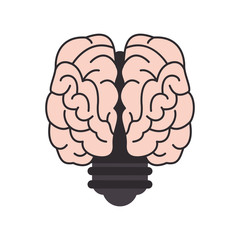flat design brain and lightbulb icon vector illustration