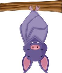 Cute bat cartoon sleeping
