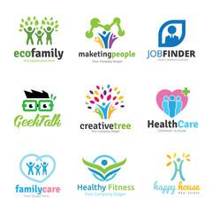Tree logo set,People logo set,family logo set,green eco logo,Vector logo template