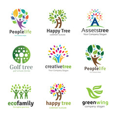 Tree logo set,People logo set,family logo set,green eco logo,Vector logo template