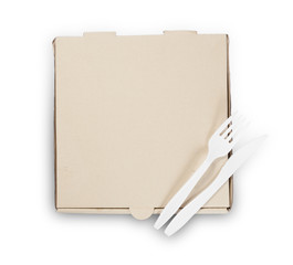 Blank pizza box with Plastic knife and fork isolated on white ba