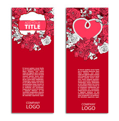Red, Romantic, Floral Vector Flyers, Cardsm Banners Set