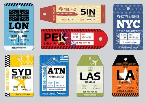 Vintage luggage tags, travel labels vector set