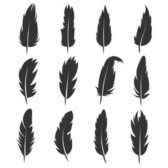 Feather, antique pen black vector icons isolated on white background