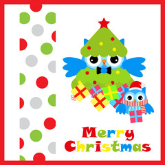 Christmas illustration with cute two owls and gift suitable for Christmas card